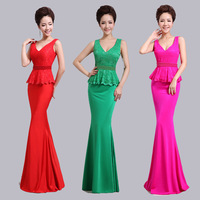 2014 fashion lace long slim formal dress costume fish tail clothing