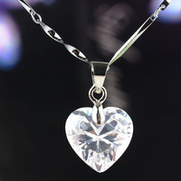Free Shipping Fashion Women 14k Gold Filled White Sapphire Heart Pendant Chain Necklace Birthday/Valentines' Gift CB1066