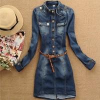 NAIULA 2014 Spring autumn fashion stand collar denim dress denim long sleeve casual dress women free shipping AS1154