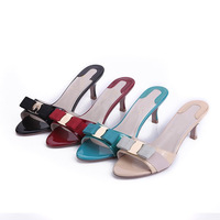 Free Shipping 2014 Spring Summer Women's Flip Flops Sandals Bow Fashion Female Sandals Genuine Leather Slippers Open Toe Shoes