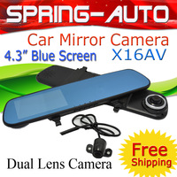 "FREESHIPPING Fashion ,Blue Glass, 4.3"" HD Car Mirror Camera DVR Dual Lens dod go pro G-sensot Motion detect Quality Products"