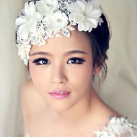 Wholesale 6pcs/lot Rhinestone Beaded Bride Hair Flower Headbands Crystal Silk Flower Hair Accessories For Wedding WIGO0183