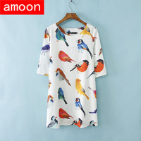 Amoon / Women Spring Summer Autumn Casual Cotton Print Birds Dress/ Free Shipping/ 4 Plus Size/ 2 Colors/ Long Sleeve