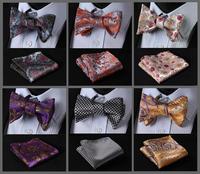 Floral Classic 100%Silk Jacquard Woven Men Butterfly Bow Tie BowTie Pocket Square Handkerchief Suit Set