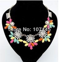 2014 New Multi Color Factory Wholesale Fashion Western Statement Elegant Gem Stones Choker Pendant Chain Necklace Jewelry
