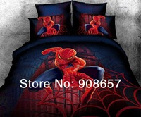 2014 new home textile blue red spider-man character printed comforter cotton queen full duvet cover set 4-5pc childrens bedding