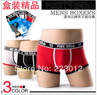2014 new high quality fashion pinkhero brand men's boxers sex boxers 100% cotton men cool feel underwears 3 pcs a lot