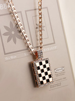 Fall in love accessories fashion black and white lattice all-match k gold perfume bottle necklace exaggerated necklace