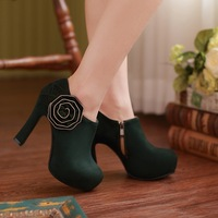 2014 spring and autumn fashion ultra high heels Women boots sexy flower high-heeled shoes nubuck leather women's shoes boots
