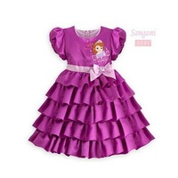 Free shipping+Retail. Baby dress,children's clothes,girls dress,cute girl summer short-sleeved dress.Purple cake dress.