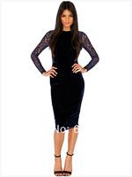 2014 New Arrival Elegant Women's Knee-Length Evening Dress,Noble Blue Lace Full Sleeve Back Ladies' Sheath Party Dress
