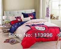 Girls Girft cute hello kitty red blue active prints duvet doona cover flat sheet pillowcases set queen bed bedding sets bedcover