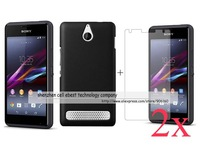100% wholesale-Newest 1x Matte hard rubber case cover+2x clear screen protector lcd film For Sony Xperia E1