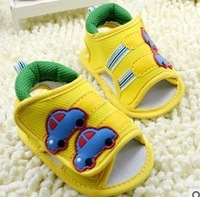 baby boy summer shoes sandal car deco yellow navy hook shoes first walkers prewalker shoes