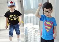 2014 New Baby boy T-shirt 2-7yrs Children Summer T shirt Fashion superman spider-man style Kid Child clothes Free shipping L021