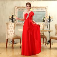 2013 red evening dress bridal long design evening dress one shoulder ruffled pleated sleeve formal dress h-36