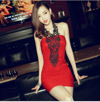 Free shipping  sexy women's lace crotch halter-neck elegant ol slim tube top tight slim hip one-piece dress formal dress