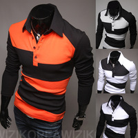 2014 fashion Trend long-sleeve  decoration polo shirt Spring and Autumn Men's Cotton Blend Slim Long Sleeved Pullovers  Tops