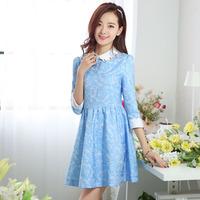 2014 spring lace polka dot skirt elegant sweet formal three quarter sleeve chiffon one-piece dress