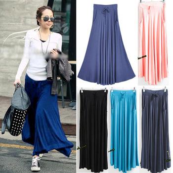 Sk82 celebrity style women pocket long maxi skirt pleated modal cotton