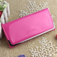 2014 Fashion Women Ladies Long Wallet fashion wallet iron edge wholesale candy colored light leather wallet BG055