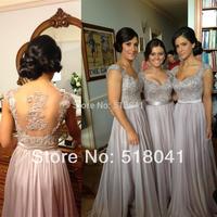KL8523 Hot sale elegant sweetheart applique beaded silver chiffon long bridesmaid dresses 2014 new arrival