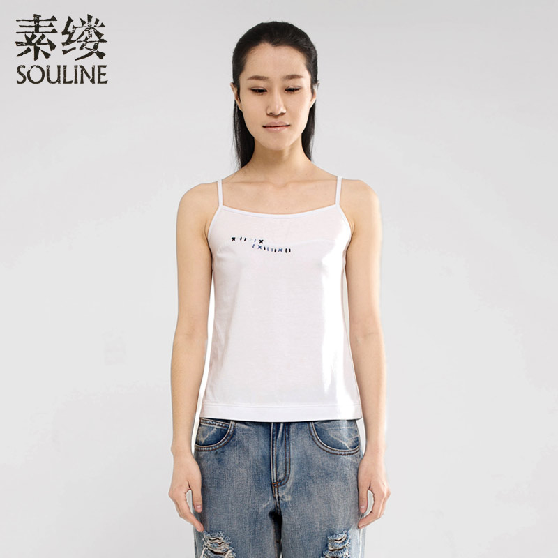 Souline spring and summer new arrival slim embroidered basic small vest sl421055