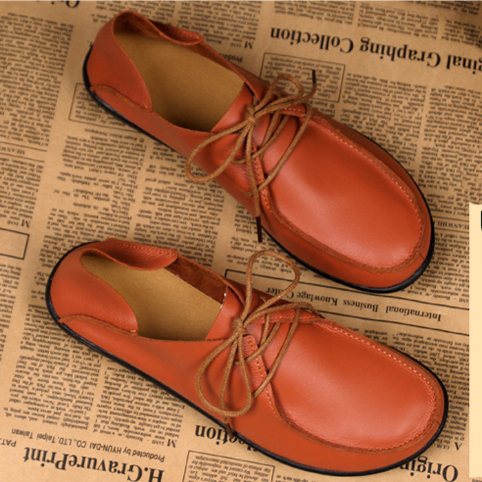 Spring fashion casual shoes women genuine leather loafers lady flats single lacing working shoes(China (Mainland))