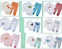 Retiail New Girls Boys Baby Long Sleeves Rompers+Pants Bodysuit Infant Cotton Sleepwear Kids Homewear Cartoon Pajama Sets