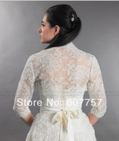 2014 Beautiful Wedding Bolero Jacket  3/4 Sleeves  Ivory White Tulle Alencon Lace Bridal Jacket  J1416