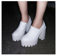 free shipping 2014 new fashion spring black&white thick heel platform genuine leather single women shoes pumps high-heels