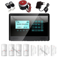 Black color~Touch Screen GSM alarm system LCD display Wireless and wired zone