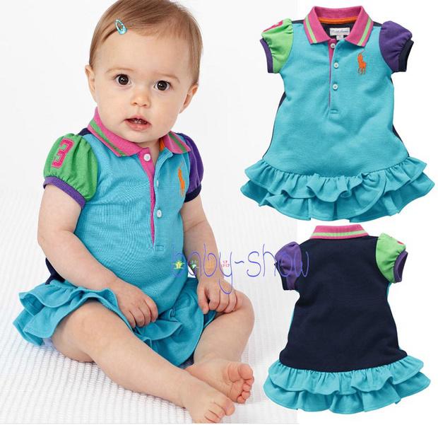 Best Sellers. 2014 new summer children and baby girls infant Princess Dress Lapel tennis dress(China (Mainland))