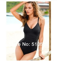 Victoria Black Green One Piece Swimwear Metal Sexy Lady's One piece Beach Wear Push Up 2014 New Design Bathing Suit FREE SHIP