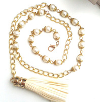 Fashion Great pearl waist chain metal waist belt for women chain belt