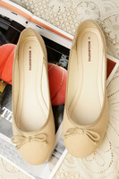 New 2014 Spring shallow mouth bow flat heel round toe single shoes women's shoes flatbottomed women's shoes