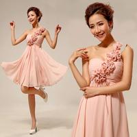 Short formal dress table costume one shoulder bridesmaid dress mid waist evening dress formal dress