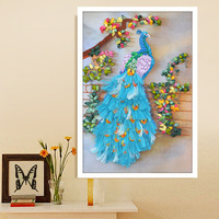 New arrival ribbon embroidery paintings new arrival lucky rich peacock home