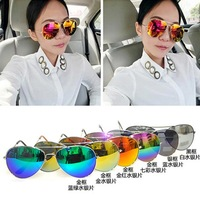 Free shipping Colorful Mirrored Aviator Sunglasses Dark Tint Lens Silver Frame Sunglasses Women