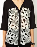Free Shipping 2014 New Fashion Spring Summer Women Half Sleeve V-Neck Shirt Mixed Colors Slim Wild Print Shirt