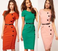 2014 Chic Women Summer Short Sleeve Button Empire Waist Puff Sleeve Casual Cotton Blend Stretch Midi Bodycon Dress S-XXL
