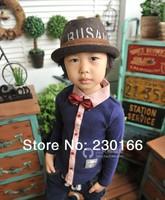 New Arrival 2014 Spring / Autumn Kids Boys Long Sleeve Shirts Cotton Gentleman Bow Shirts Children's Clothing K2014033