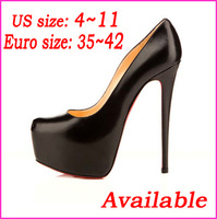 2014 Western Fashion Sexy Platform Women Pumps Ankle Strap 14cm High Heels Ladies' Wedding Pumps Party Dress Shoes Black / Beige