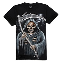 2014 New Style Novelty Men T Shirt Short Sleeves Designer Skeleton Printed Cotton T-shirts 3D Sport Fashion Pullovers D-0008