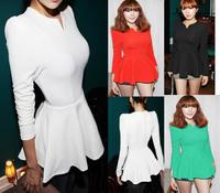 2014 Top Fashion Five Colors Women Long Sleeve V-Neck Puff Sleeve Peplum Slim Cute Korea Blouse,Shirt.(Free Shipping).S-XL