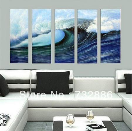 Arte moderna ondas do mar pintura a óleo da paisagem branco e marinho Blue Sea decoração imagem da parede da lona 5 painel(China (Mainland))