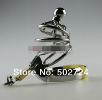 Stainless steel male chastity lockable  cock cage  penis cage with catheters  sounds