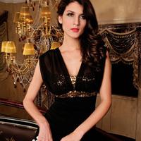 2014 Women's fashion sexy black V-neck sequin decoration slim hip paillette basic sleeveless tank dress one-piece dress HF2937