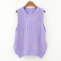 2014 spring women's all-match o-neck twisted thread knitted sleeveless vest sweater female an124