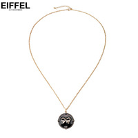 Girl fashion alloy circle pendant oil bow necklace sweater all-match short